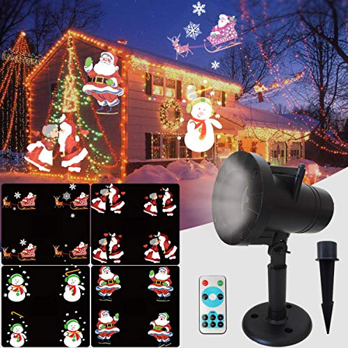 Christmas Projector Lights Outdoor, Qianson Waterproof LED Projection Lamp with RF Remote Control Largest Coverage Landscape Decorative Lighting for Xmas Thanksgiving Party Valentine's Day