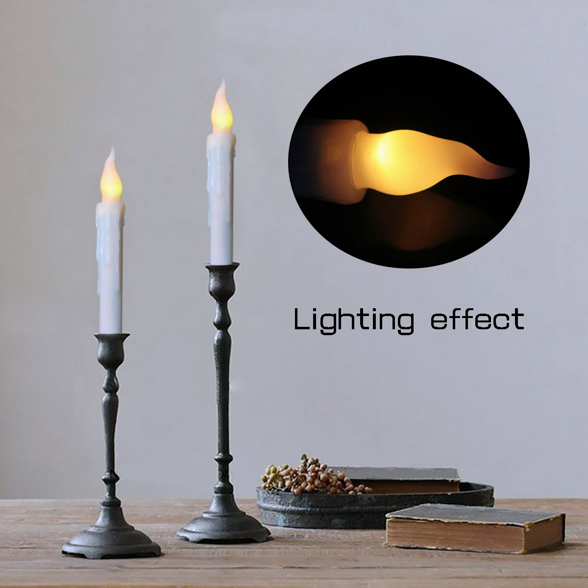 Flameless Battery Operated LED Taper Candles Timing Function Flickering Window Candles Warm White Bulb, LED Timer Candle for Wedding, Christmas, Halloween, Thanksgiving, Home Decor, Pack of 6 by Freewander (Image #3)