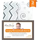 Changing Pad Cover, Cradle Sheet Set - 2 Pack Fitted Sheets - Jersey Cotton, Grey/White, Unisex Baby