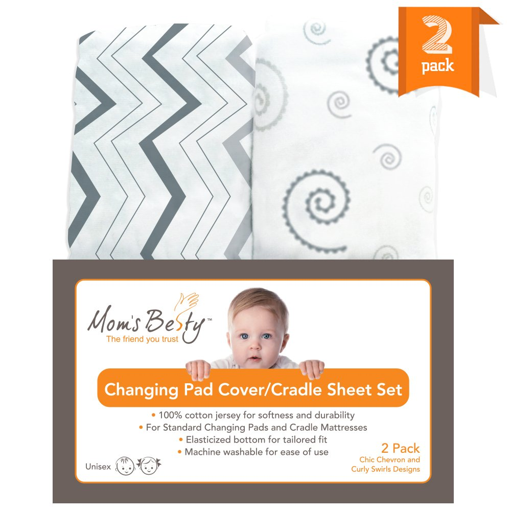 Changing Pad Cover Set, Baby Cradle Sheet 2 Pack - 100% Super Soft Jersey Cotton Grey and White - Unisex Design for Baby Boy or Girl - Chevron and Curly Swirls