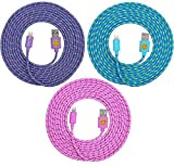 10ft Hi-Speed Braided Lightning Cable for iPhone 6s, 6, 6 Plus (ple blu pnk)