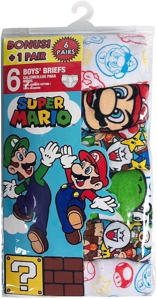 Super Mario Bros 6-Pack Boys Briefs Underwear Mario Luigi Yoshi