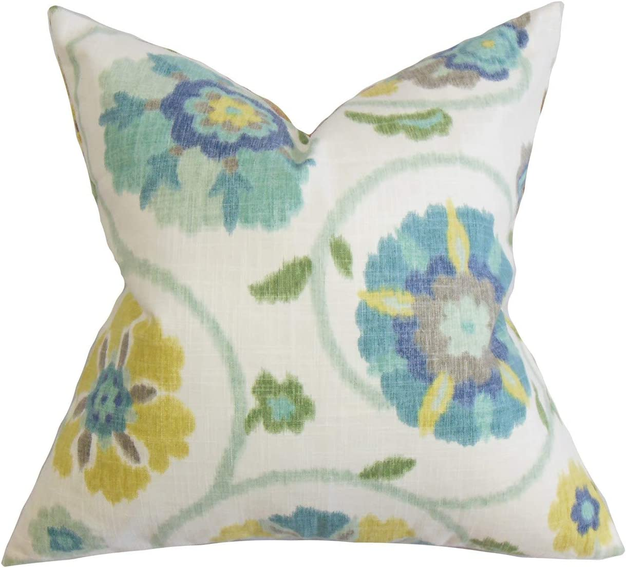 The Pillow Collection Eithne Floral Blue Down Filled Throw Pillow