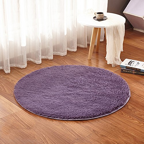 UHBGT Shaggy Round Carpet, Circle Rugs Mats, Plush Circular Floor Mat, Washable Non-Slip Baby Nursery Round Rugs, Chair Gym Cushion Decor Kids Room Carpet,39'',Gray Purple