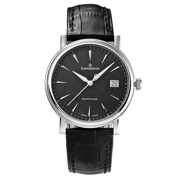 Candino C4487/3 - Reloj analógico de Cuarzo para Hombre con Correa de Piel, Color Negro: Amazon.es: Relojes