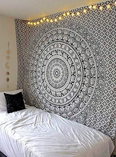 Elephant Print Tapestry Wall Hanging Bohemian Bedspread Dorm Cushion Cover#1