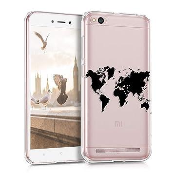 kwmobile Funda para Xiaomi Redmi 5A - Carcasa de TPU para móvil y diseño de Mapa del Mundo en Negro/Transparente