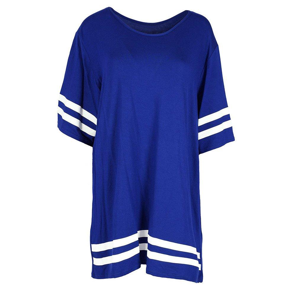 Nevera Women Tops Stripe Short Sleeve Round Neck T Shirt Ladies Pullover Blouse Blue