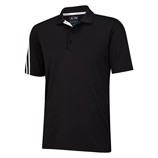 1bead159 adidas Golf Men's Climacool 3 Stripes Polo Shirt, Black/White/Vista Grey,