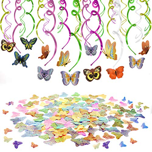 (Konsait Butterfly Party Supplies Hanging Decoration(30 Counts) Butterfly Star Table Confetti(30g) for Spring Holiday Kids Girls Birthday Party Easter Favor Supplies Decoration Home Nursery School)