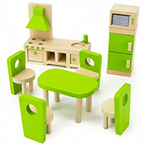 Imagination Generation Wooden Wonders Eat-in Kitchen and Dining Room Set   Colorful Dollhouse Furniture for Doll Family   Traditional Vibrant Accessories for Pretend Play   Perfect for Play Houses