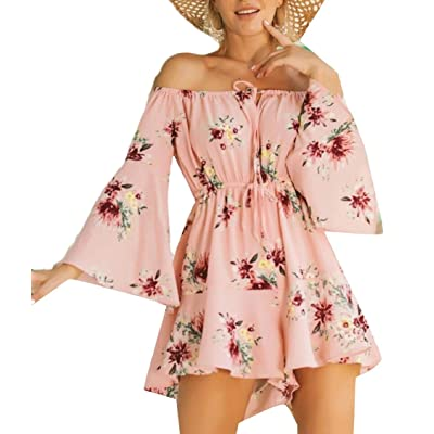 ouxiuli Womens Off The Shoulder Beach Flare Sleeve Party Sexy Culottes Floral Printed Rompers