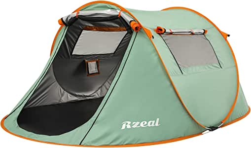 Reabeam Pop Up Camping Tent, Single Outdoor Automatic Darkness Tents Double Layers Blackout Tent Waterproof Camping Hiking Tent - Extra Dark Interior