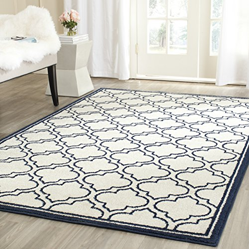Safavieh Amherst Collection AMT412M Moroccan Geometric Area Rug, 4 x 6 , Ivory Navy