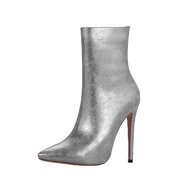 ace78ba6487c YE Bottine Mariage Pointue Femme Sexy Hiver à Talon Haut Aiguille Ankle  Boots Winter Shoes Bottes