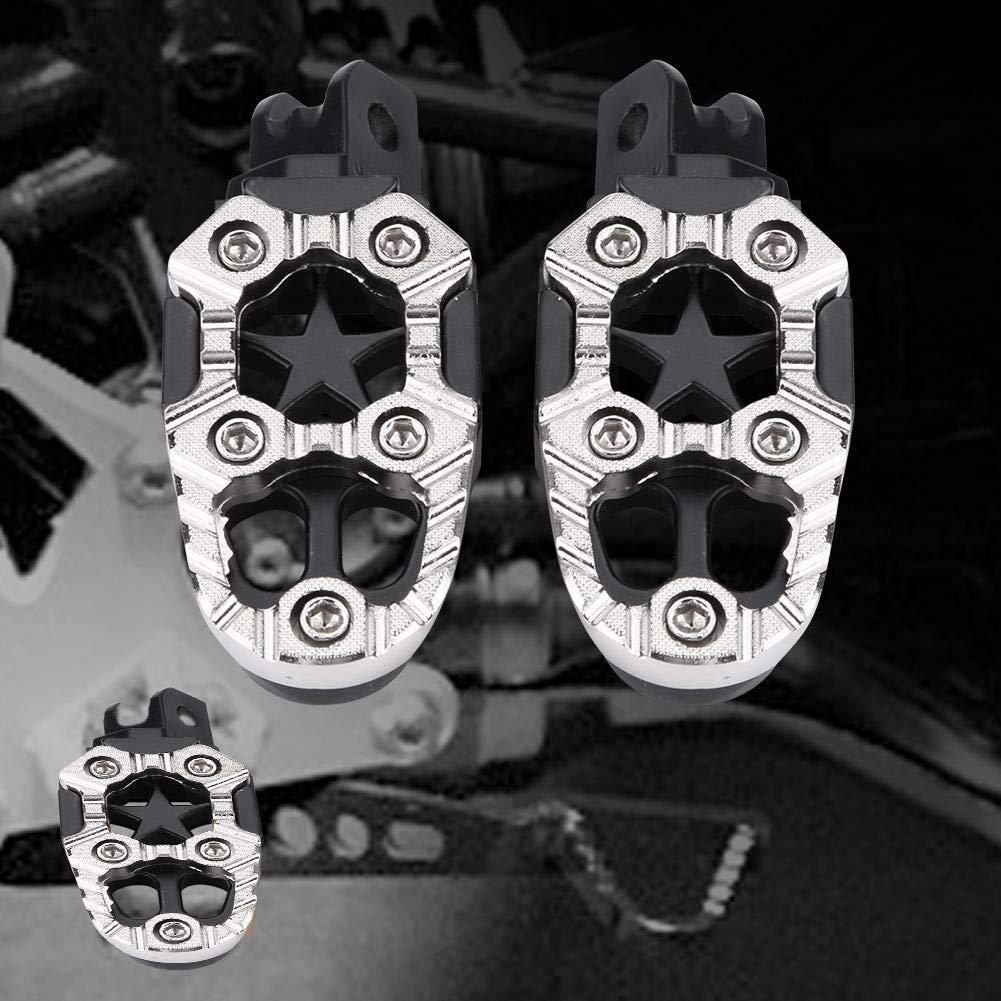 pedestales 1 par de pedales de apoyo de aluminio para motocicleta 8 mm Orificios de montaje universales pedales Color : Plata naranja y plateado Reposapi/és