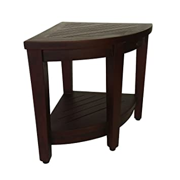 Amazon.com: DecoTeak Oasis Teak Corner Shower Bench With Shelf ...