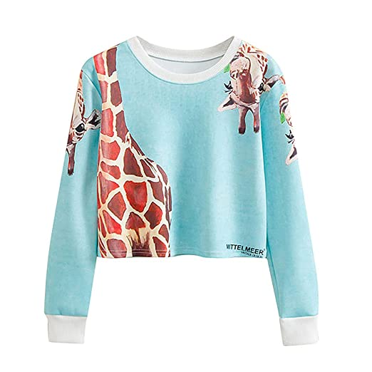 Howley Top Women Casual Shirt Long Sleeves Blouse Giraffe Printing Tops Sweatshirt (S, Blue