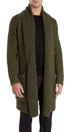 cda87ce32606 Pengfei Mens Cardigan Sweaters Open Front Chunky Knit Shawl Collar ...