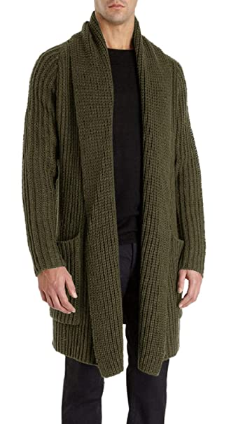 Enjoybuy Mens Shawl Collar Open Front Cable Knit Long Cardigan Sweaters  Coats with Pockets