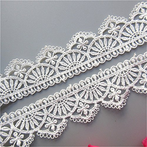 (2 Yard White Polyester Crochet Lace Trim Scalloped Ribbon Embroidered Fabric 30mm Width for DIY Sewing Craft Clothes Decoration )
