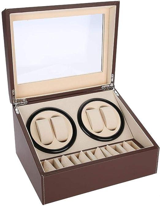 LLKJT Caja Giratoria para Relojes Automatico Watch Winder Madera de Reloj de Pulsera Caja de Relojes 4+6 Caja de Colección de Relojes Preciosos para Hombre,Marrón: Amazon.es: Hogar