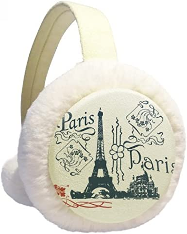 Eiffel Tower France Paris Line Drawing Winter Earmuffs Ear Warmers Faux Fur Foldable Plush Outdoor Gift