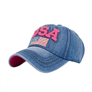 9c33b3b80de Women Men USA Denim Rhinestone Baseball Cap Snapback Hip Hop Flat Hat Hot  Pink  Amazon.co.uk  Clothing