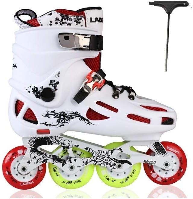 Ailj 大人の屋外フィットネス インラインスケート 初心者向け ハイパフォーマンス ローラーブレード   白と黒 (Color : 白い, Size : 42 EU/9 US/8 UK/26cm JP) 白い 42 EU/9 US/8 UK/26cm JP