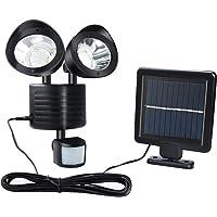 Luz solar al aire libre 22 LED de seguridad, IP65 a prueba de agua, ajustable, luz de inundación de doble seguridad para exteriores para puerta de entrada patio garaje jardín acera estacionamiento