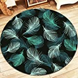 Green Feather Round Living Room Rug Soft Comfortable Wearable Easy Clean ( Size : 100 cm diameter )