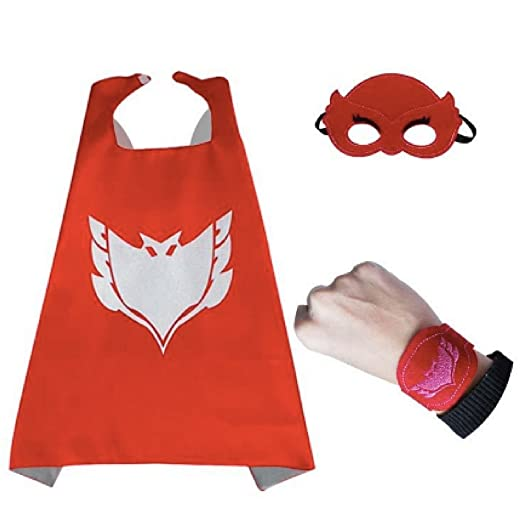 Bek Brands PJ Masks Owlette with Felt Bracelet Superhero Cape and Mask Set | Dress up