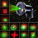 Jeteven Laser Light, Christmas Projector Lights, Waterproof Red and Green Star 20 Patterns LED Light Outdoor for Halloween Xmas Holiday Party Landscape Patio Lawn Stage Show Decoration