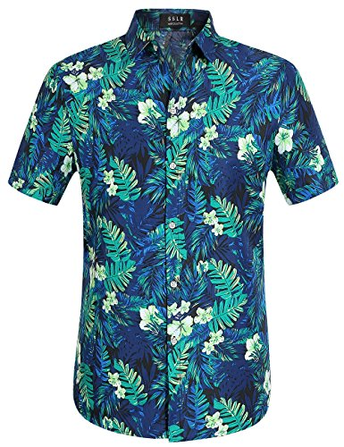 SSLR Mens Jungle Prints Casual Short Sleeve Aloha Hawaiian Shirt