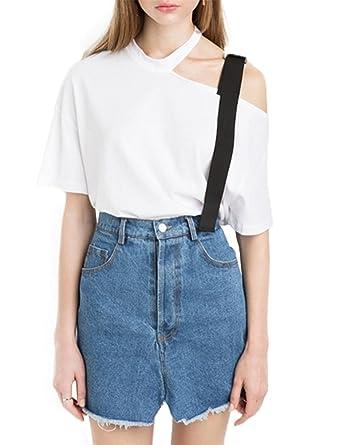 One Shoulder White Shorts