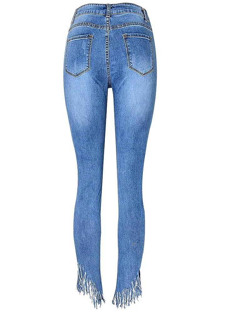 JeansForest Damen Fransen Denim Skinny 78 Jeans Hose
