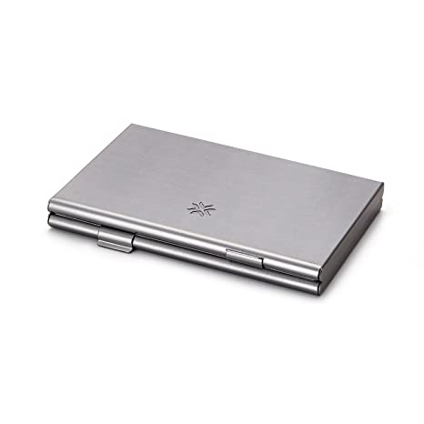 Pennline Dual Sided Business Card Holder Brushed Grey Amazon
