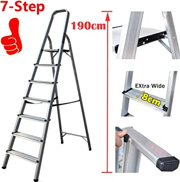 Escalera plegable de 7 pies con peldaños antideslizantes de aluminio ligero y fácil de mover: Amazon.es: Bricolaje y herramientas