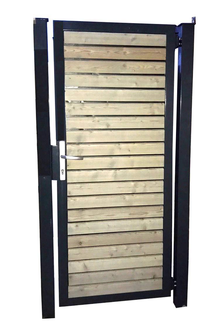 Gartentor Holztor Tor Pforte Einfahrtstor mit Holzfüllung Quer 125cm x 180cm (BxH) / Rahmen Anthrazit RAL 7016