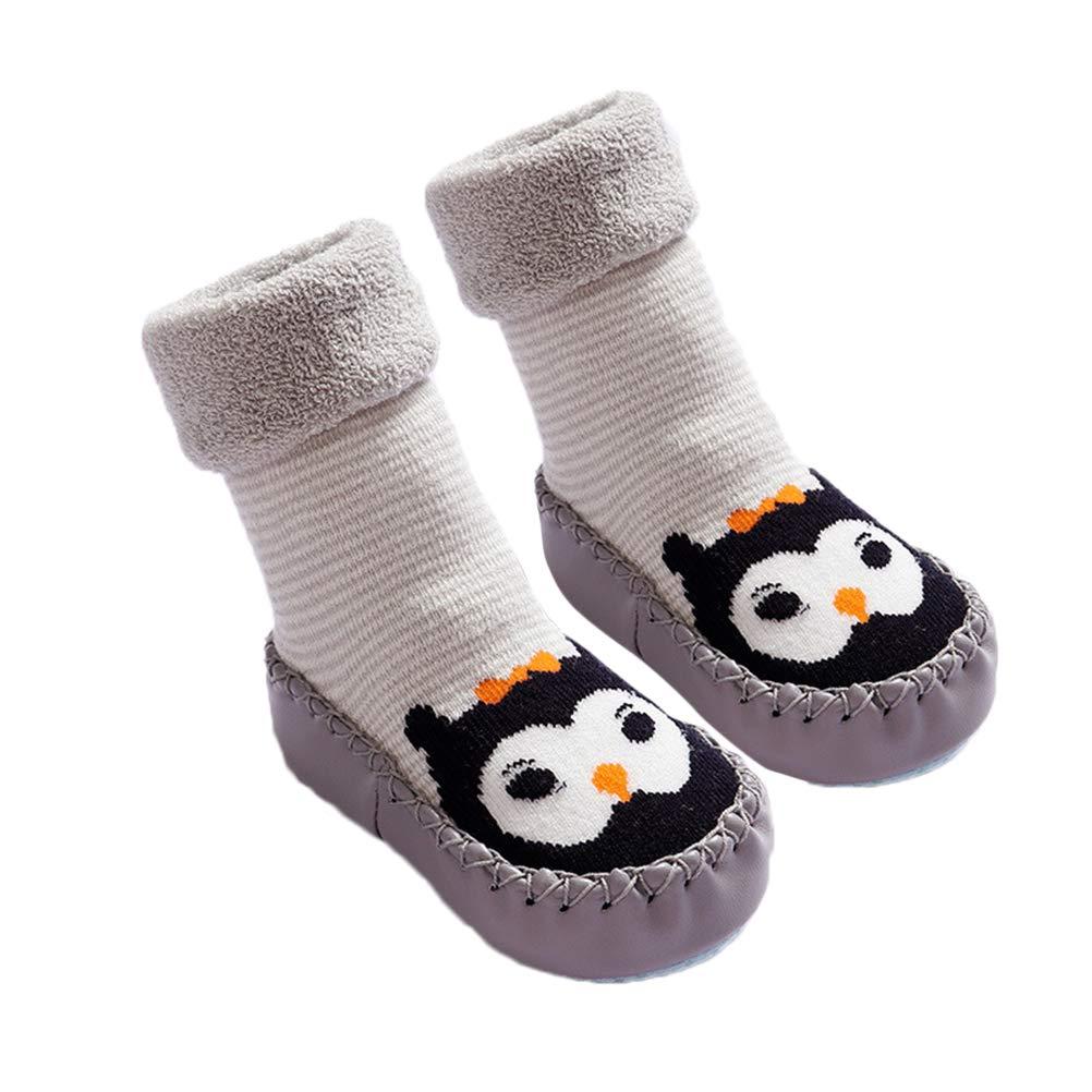 FENICAL Winter Warm Baby Toddler Anti Slip Non Slip Slipper Socks Kids Infant Cotton Socks for 15-23 Months Grey Owl Pattern 14cm