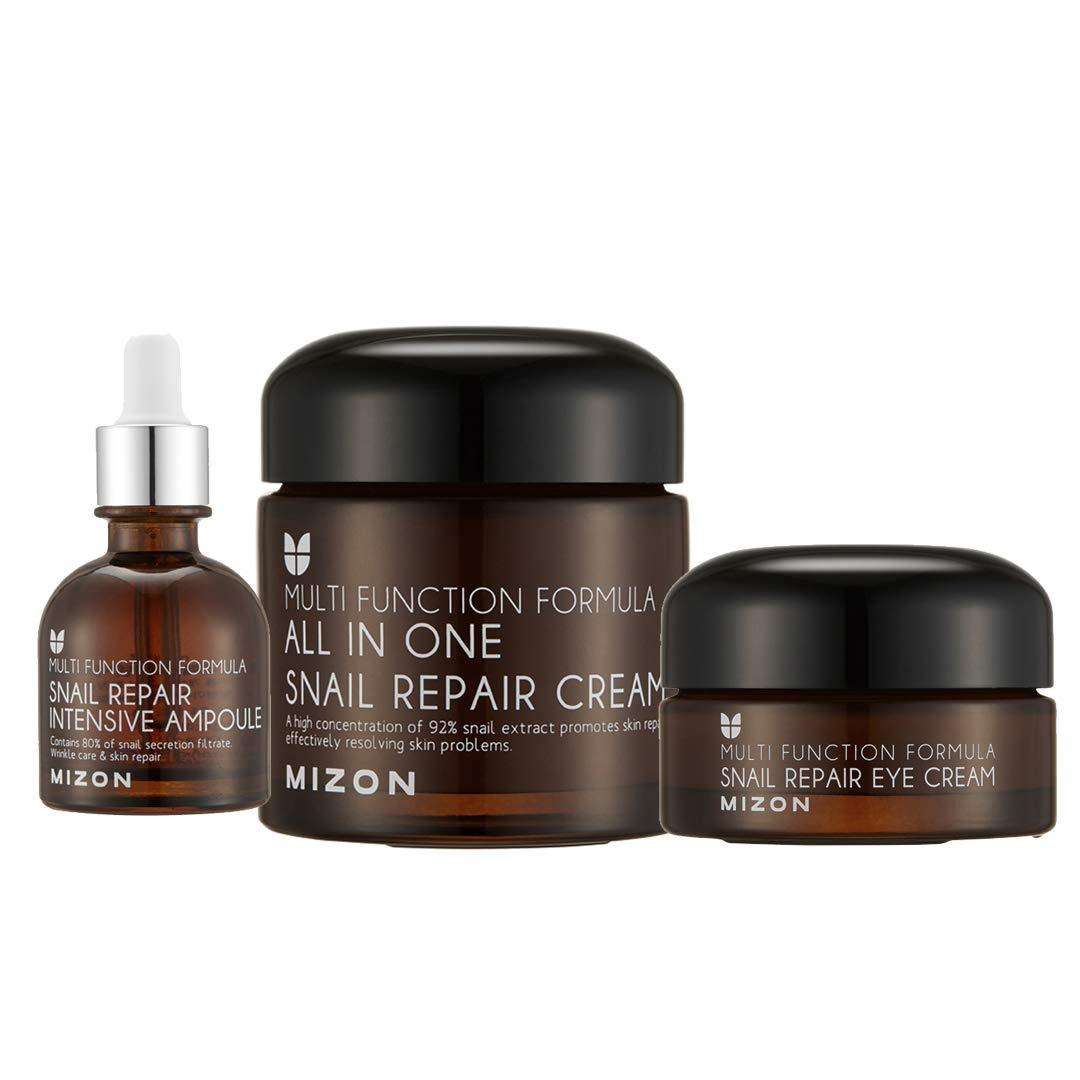 Mizon Snail Line: Snail Repair Face Cream, Snail Repair Intensive Ampoule & Snail Repair Eye Cream
