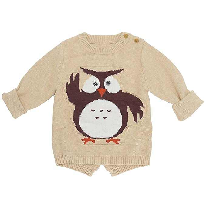 91afc38f3dc4 Vinnytido Baby Boys Knitted Sweater Cartoon Owl Animal Casual Sweater  2-7Year Apricot