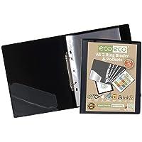 eco-eco A5 65% Reciclada 2-O Anillos Negro Carpeta de Anillas de Color Presentación con 12 Bolsillos de Múltiples…