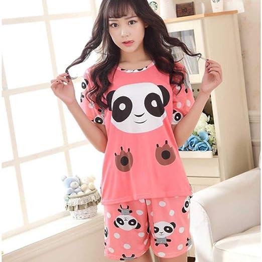 Shorts de Mujer + Camisa de Manga Corta Traje de Pijama Pijama de algodón Pijama de Dibujos Animados: Amazon.es: Hogar