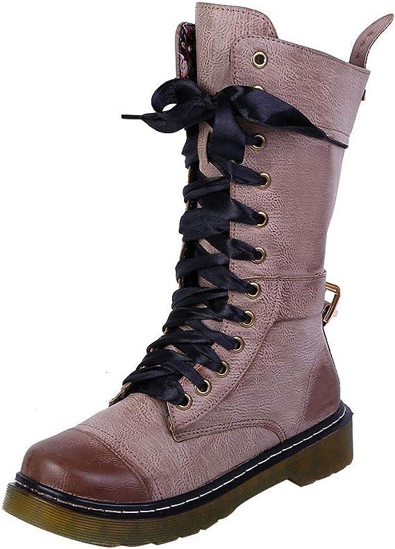 LuckyGirls Botte Ete Femme Boots Bottines Kickers Homme, Steampunk Gothique Vintage Style RéTro Boucle Punk Bottes De Combat Militaire