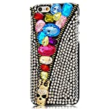 iPod Touch (6th Generation) Case, Sense-TE Luxurious Crystal 3D Handmade Sparkle Glitter Diamond Rhinestone Clear Cover with Retro Bowknot Anti Dust Plug - Crown Zipper Skull Jewelry / Colorful