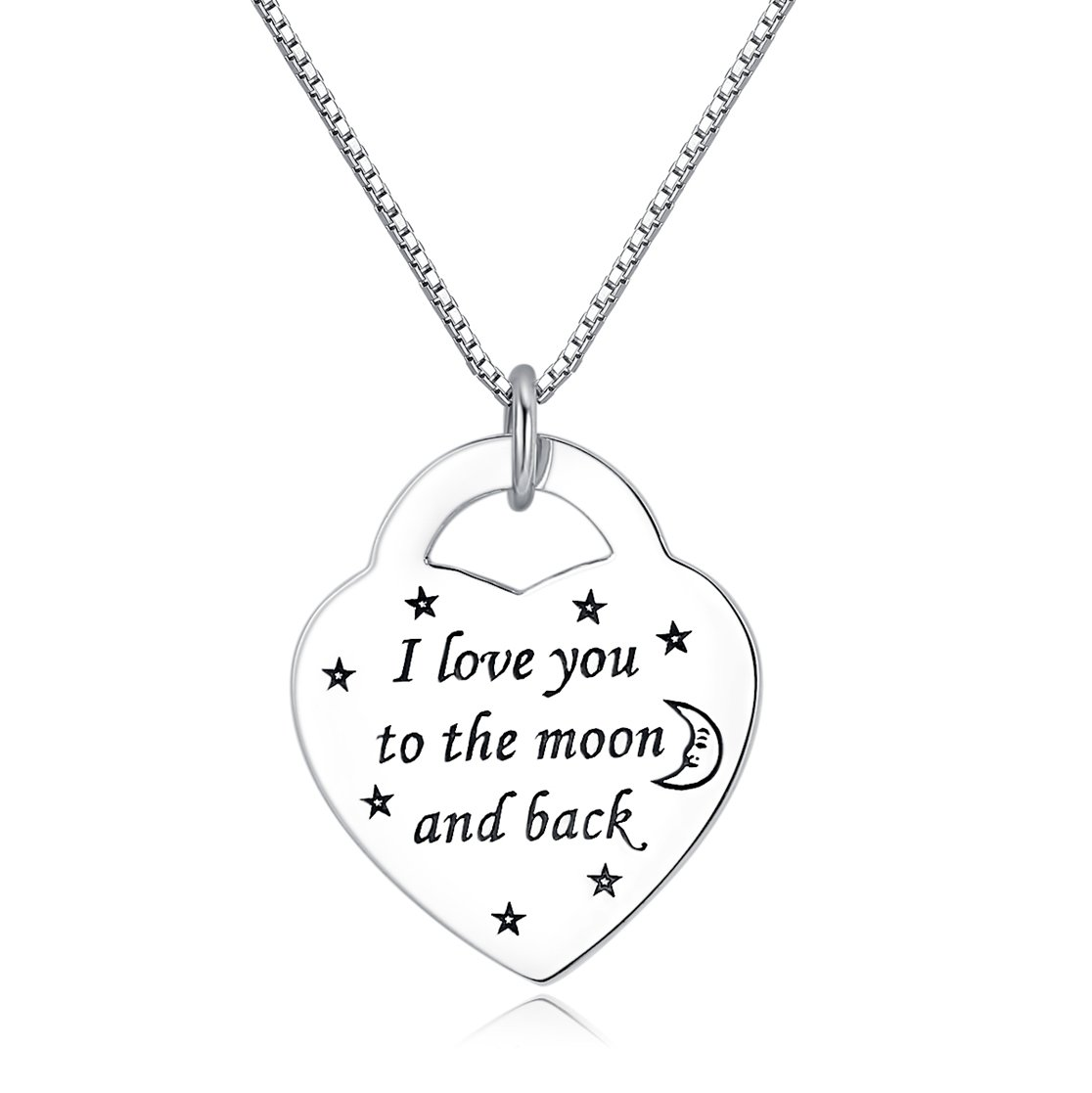 Fine Jewelry Sterling Silver ''I Love You to the Moon and Back'' Charm Pendant Necklace, 18 inches