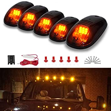 5pcs amber led cab marker lights smoke cover 9 led roof top clearance running lights w wiring harness pack for 2003 2018 dodge ram 1500 2500 3500 4500 Dodge Engine Compartment Wiring Harness