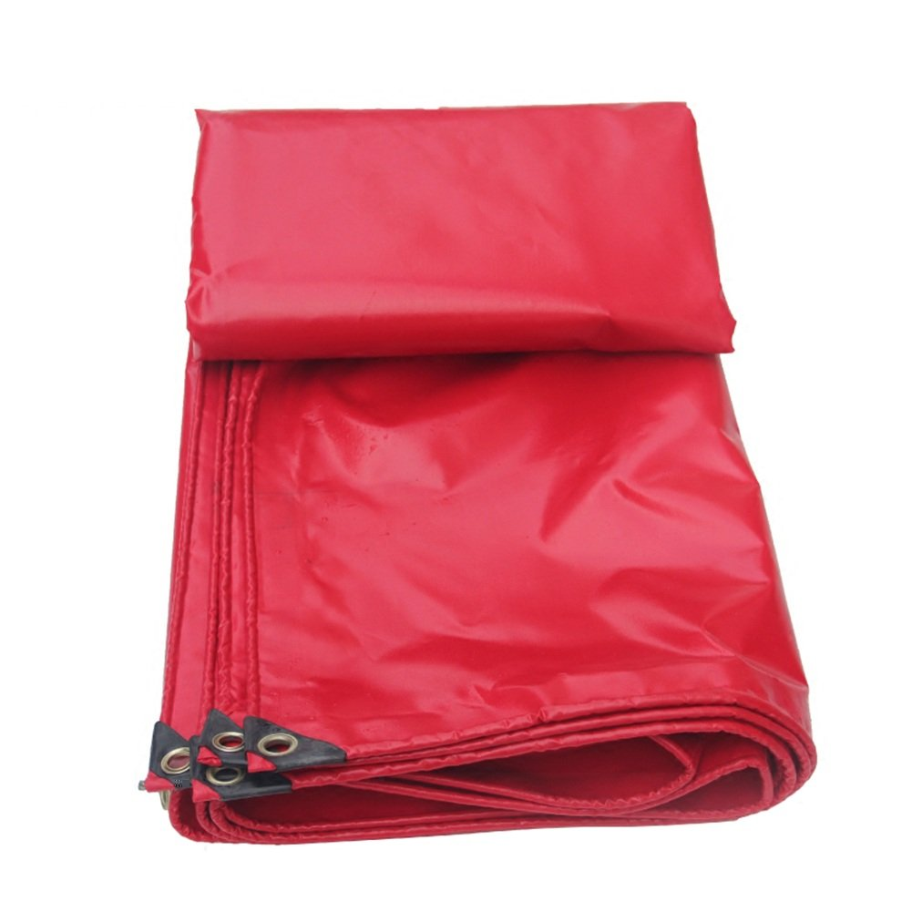 QIANGDA オーニング テント赤い防水シート屋外の天井の布の車の公園の雨の布の腐敗防止防寒耐熱耐食性-450グラム/平方メートル、厚さ0.36ミリメートル、サイズカスタマイズ可能 (サイズ さいず : 6 x 8m) B078WS2HRW   6 x 8m