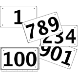 "Race Numbers official competitor tryout tyvek bib numbers, set of 100, (any 100 from 1-1,000) 4""x7"", industry standard tyvek tearproof & waterproof. SELECT SEQUENCE USING ""SIZE"" choice."